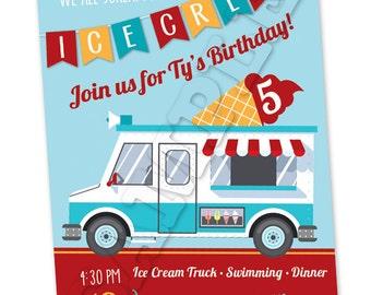 Printable Ice Cream Truck Birthday Invitation