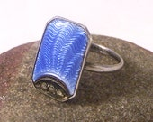 Vintage Marcasite Ring, Blue Ring, Silver Marcasite Ring, Guillouche Ring, Enamel Ring, Deco Ring