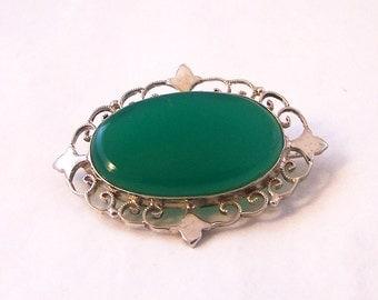 Vintage Sterling Silver Brooch, Silver Green Brooch, Chryophase Silver Brooch, Chryophase  Brooch, Semi-Precious Silver Pin