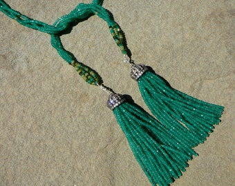 Tsavorite Necklace, Green Necklace, Green Onyx Tassel, Tassel Necklace, Chrome Tourmaline Necklace, Lariat Necklace, Peridot Necklace