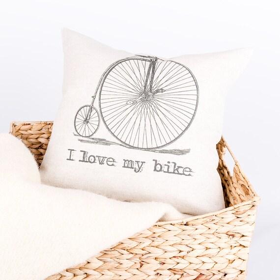 I Love my Bike Vintage Bicycle Pillow
