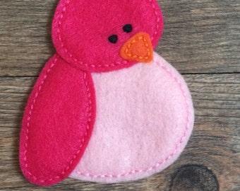 Pink Bird Pin - Felt Pink Bird Pin - Felt Bird Pin - Pink Bird Felt Pin - Pink Felt Bird Pin