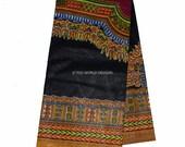 Quality Black Dashiki Fabric/ Dashiki Print/ African Fabric/ African skirt/ African print/ Supplies/ Sold by the panel/ Large design  WP549B