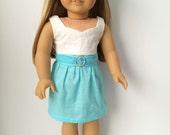 """American Girl 18"""" Doll Clothes Cinderella Collection Aqua Garden Party Dress"""