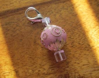 Pink Beaded Purse Charm, Zipper Pull