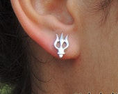 RESERVED for C.W. //  Poseidon Trident Studs Sterling Silver Shiva Trishul Studs 14x8 MM