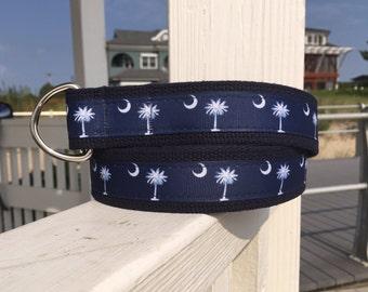 South Carolina Flag Belt / Palmetto Tree and moon Belt / Preppy Belt / Mens Belt / Ribbon Belt / D ring Belt