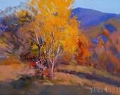 Golden Autumn Tree Painting, Landscape Oil Painting, Contemporary Landscape Art, Blue Mountain Wall Art