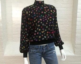 vintage black silk blouse // Emanuel Ungaro long sleeve top // 1980s