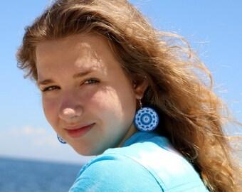 Decoupage earrings, nautical jewelry, aqua blue earrings, mandala earrings, ocean earrings, bohemian earrings, ocean deep blue, boho beachy