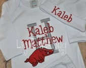 Personalized Hog Baby gown/Onesie with hat