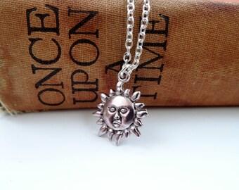 Sun pendant necklace, sunshine silver necklace, silver sun face necklace, delicate, summer