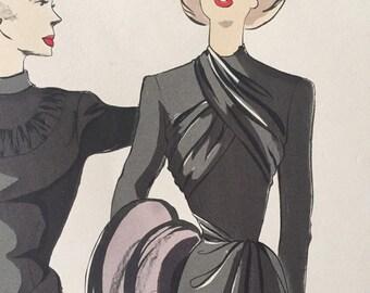 Original France fashion illustration, 40's