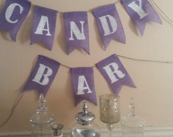 Candy Bar sign for wedding, burlap banner