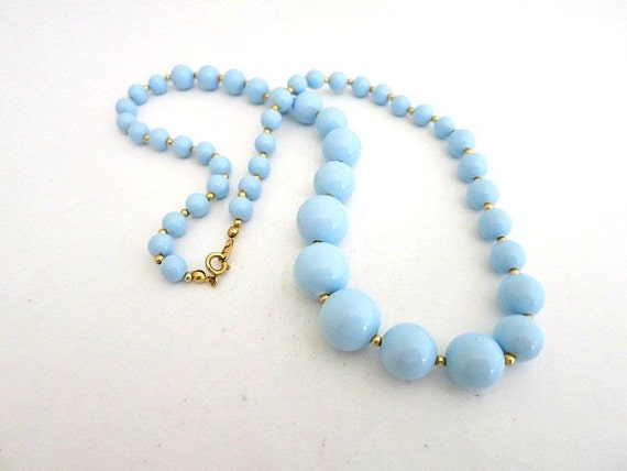 bead necklace baby blue lucite graduated