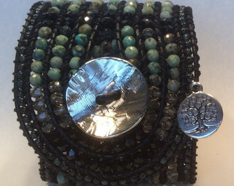 Cuff beaded leather bracelet