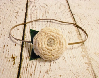 Beige Lace Rolled Rose Headband- Newborn to Adult