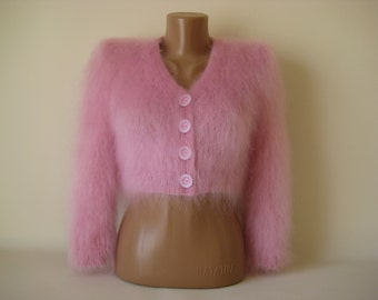 Made to Order Hand Knitted Pink  Mohair Bolero Sweater Shrug  size S,M,L
