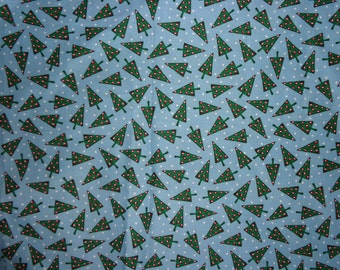 Blue Christmas Trees Cotton Fabric by the Yard
