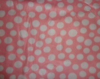 2.5 Yards Pink Polka Dot Fleece Fabric