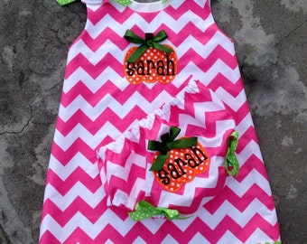 Baby girl fall outfit , pumpkin patch outfit , chevron baby outfit , monogram baby dress , fall dress , girl pumpkin , hot pink chevron