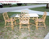 Big Sale Vintage Rattan Dining Set Chinese Chippendale Faux Bamboo Table 4 Chairs Hollywood Regency Mid Century Modern Italian