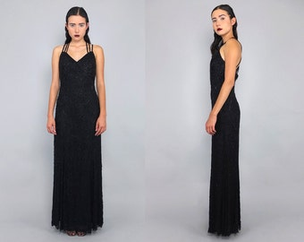 Vtg 90s Black Backless Heavily Beaded Cage Cut Out  Gown Maxi Dress S
