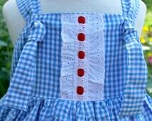 Dorothy Wizard of Oz Dress, Dorothy Dress, Dorothy Knot Dress, Dorothy Costume, Wizard of Oz, Wizard of Oz Costume, Girls Knot Dress