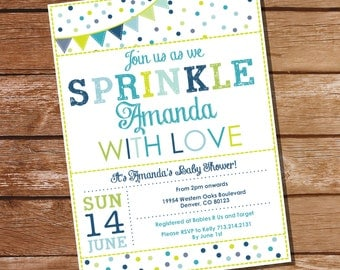 Sprinkle Baby Shower Invitation in Whites and Blues - Boy Sprinkle Invitation - Instant Download and Edit at Home with Adobe Reader