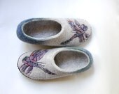Dragonfly art slippers for women- Grey felted slippers -wool house shoes with leather soles -Handmade Wedding slippers -to order