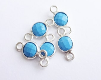 Tiny Sterling Silver Turquoise Bezel Connectors -- 2 Pieces -- 6mm Links