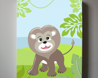 Lion canvas art - Baby Boy Nursery Wall art - Jungle Wall Decor for Boy's room