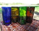 Multicolor Wine Bottle Glasses Set of 4