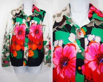 10 DOLLAR SALE---Vintage 70's Colorful Floral Pattern Blouse M