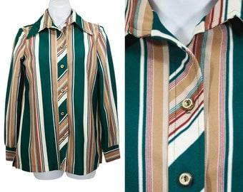 10 DOLLAR SALE---Vintage 70's Multicolor Striped Blouse M