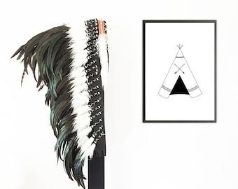 teepee black and white art print