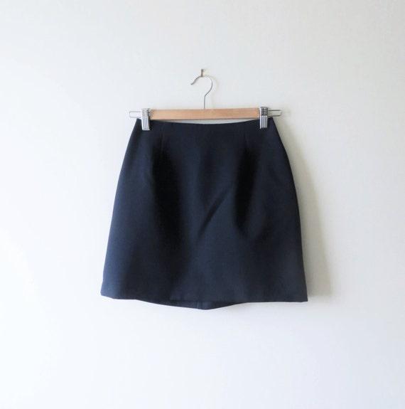 90s navy blue mini skirt minimalist high waist fitted