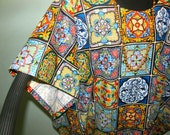 MEXICAN TILE PRINT Tunic or Dress - Mexican Art Form of Ceramic Tiles reproduced in this colorful ethnic style - Full Figure Size