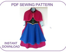 PDF sewing pattern for Frozen Anna cape, bodice, blouse and skirt. 5 sizes : 5-10 years. Halloween costume pattern. Anna costume pattern.