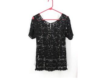 Black Lace/Crochet Open Knit Top