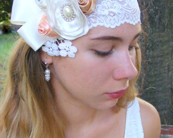 Bridal  Fascinator,  Bridal Flower Hair  piece, Bridal Lace Flower  hair piece, Vintage style