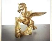 vintage large brass pegasus figurine mythical retro