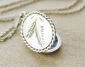 Vintage British Sterling Oval Locket Necklace, silver pine branch locket, fern frond locket, palm frond locket, small oval sterling locket
