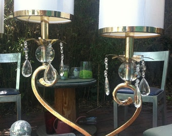 Hollywood regencey/ brass and acrylic/ lamps with 4 lights total