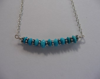 sterling silver and turquoise button stack necklace
