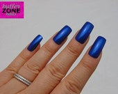 WIDE FIT Hand Painted Press On Nails, Electric Blue, Long Length