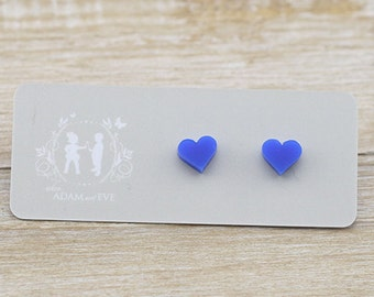 Blue Acrylic Hearts Stud Earrings - Lasercut Earrings - Laser Cut Earrings - Quirky Earrings - Gift For Her