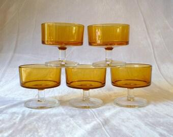 Luminarc cavalier amber dessert, sherbert bowls, vintage french dining, home decor