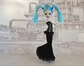 Black gothic  corset &  long mermaid  skirt tight fit hand made fits Monster High doll