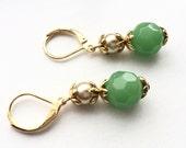 Jade and Pearl Plated Earrings